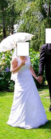 Suknia ślubna biała na 150-160 cm rozm. S- GRATIS buty Witt 36