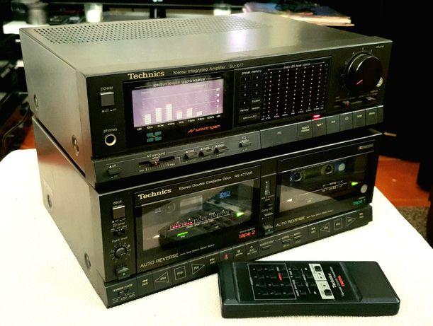 Amplificador e Deck de Cassetes Duplo Midi TECHNICS SU-X77 e RS-X77WR