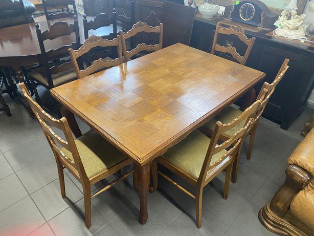 Stół ludwikowki z 6 krzesłami/Rozkładany/Komplet/ŁADNY/RATY