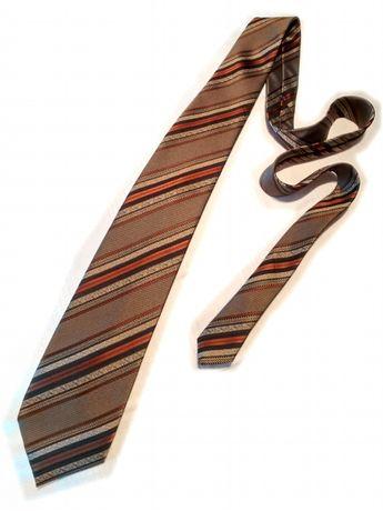 Krawat złoty brązowy prążkowany w paski