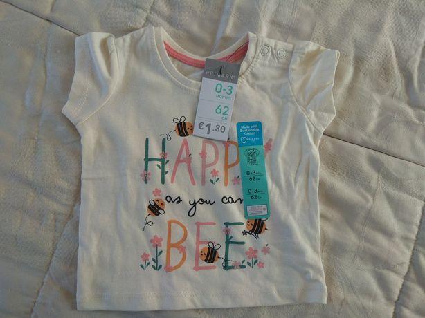 T-shirt bebé 0/3 meses nova