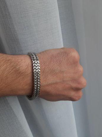 Мужской стальной браслет на магните