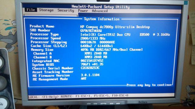 HP dc7800 usdt C2D 4GB DDR2 DVD/RW 160gb