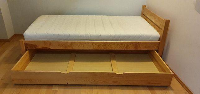Łóżko 100x200, lite drewno sosnowe + materac Koło kokosowy