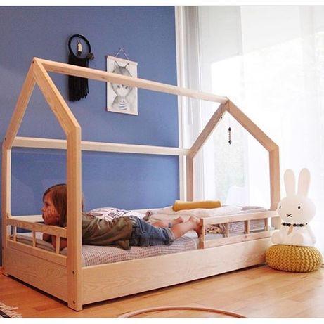 Łóżko DoMeK HouseBed Sosnowe, Różne kolory, barierki 140,160,180,200cm