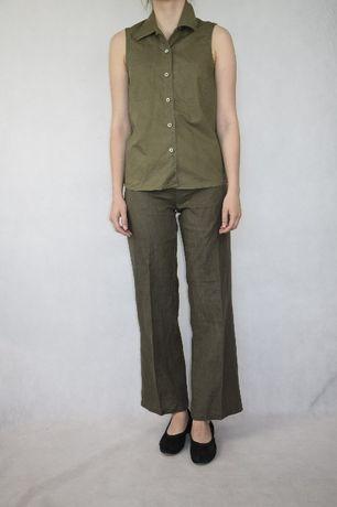 SISLEY, lniane spodnie vintage 34