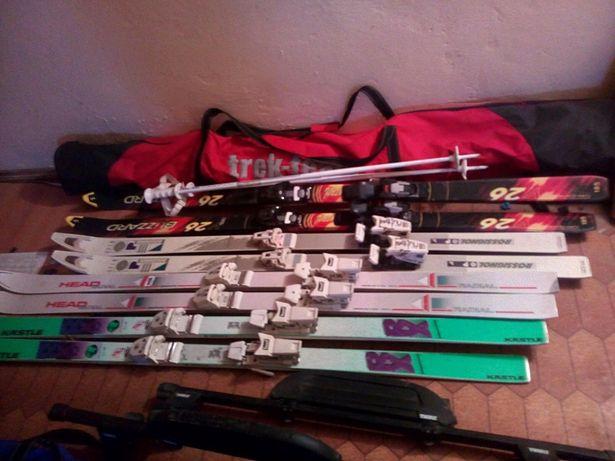 Лыжи, ботинки разные, горные