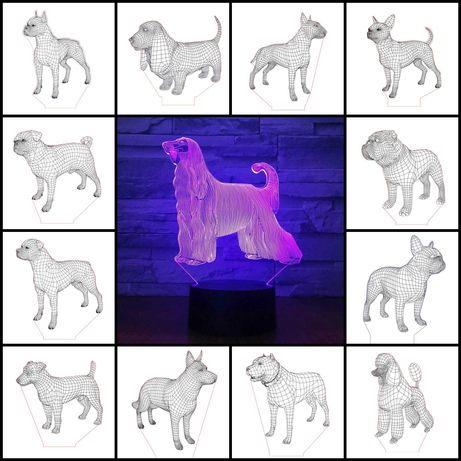 3Д Светильник с Вашей собакой Любая порода +пульт оригинальный подарок