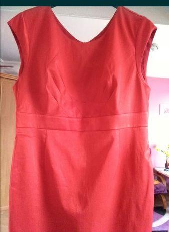 Sukienka wizytowa czerwona pół satyna 42,44 przyjęcie chrzest wesele