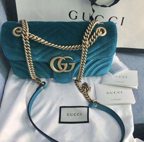 Gucci Marmont Velvet Petrol Blue oryginał wyprzedana
