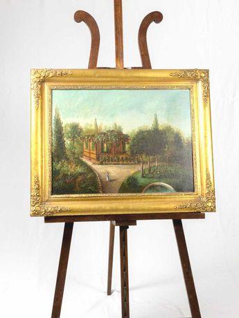 Pintura antiga de casa de jardim e pátio - século XIX