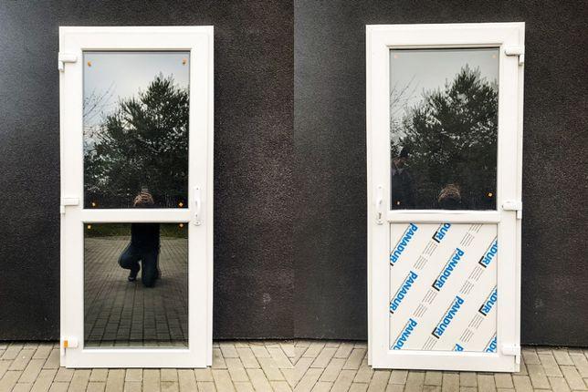 Drzwi zewnętrzne PCV 105x210 białe * NOWE! OD REKI sklepowe biurowe *