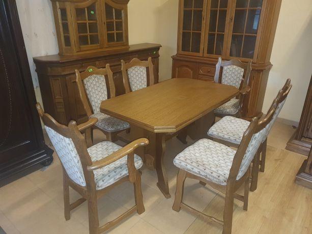 Stół dębowy 6 krzeseł