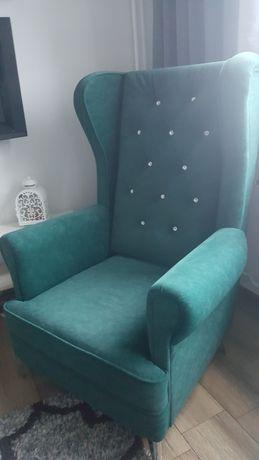 Fotel Uszak - zieleń butelkowa