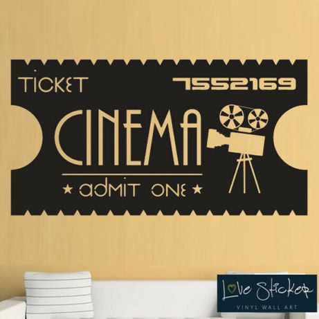 Wall Sticker Cinema Ticket Movie Film (Tamanho XL - enorme)