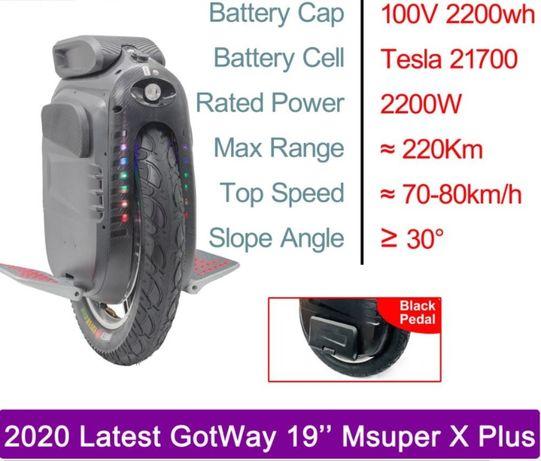 Monociclo Gotway Msuper X Plus - 75Km/h -220Km Segway Ninebot Sherman