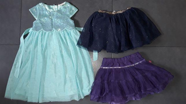 H&M sukienka wizytowa i spodnice tiulowe roz.98-104