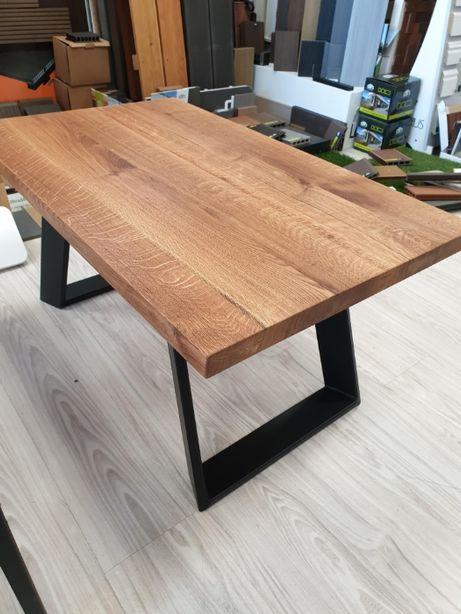 Stół składany industrial loft dąb szczotkowany stal lak proszk czarny