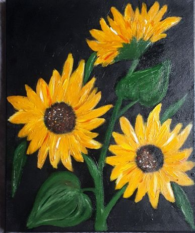 Ręcznie malowany obraz Kwiaty płótno abstrakcja akryl 33x41cm