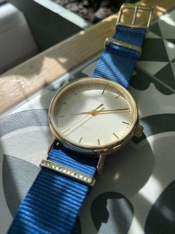 Zegarek złoty Timex niebieski pasek oryginalny