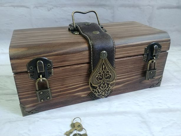 Сундук для денег с замком, Мужской подарок, Шкатулка для украшений,