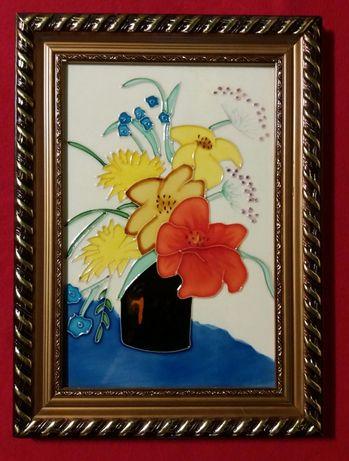 Арт-декор.Картина на стекле 37*27 *Цветы*