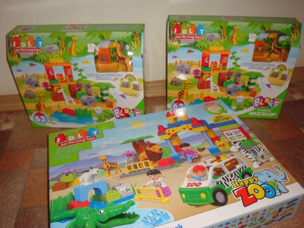 Конструктор JDLT 5021 зоопарк животные 63 дет аналог лего Lego Duplo