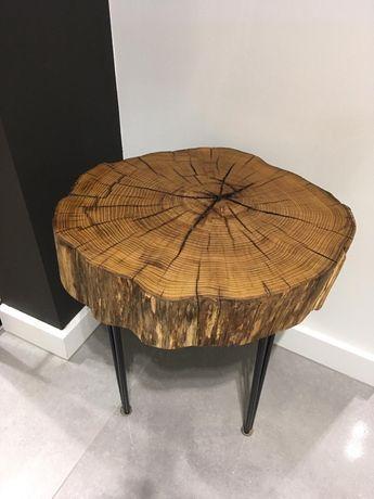 Stolik kawowy, akacja, plaster drewna, pień