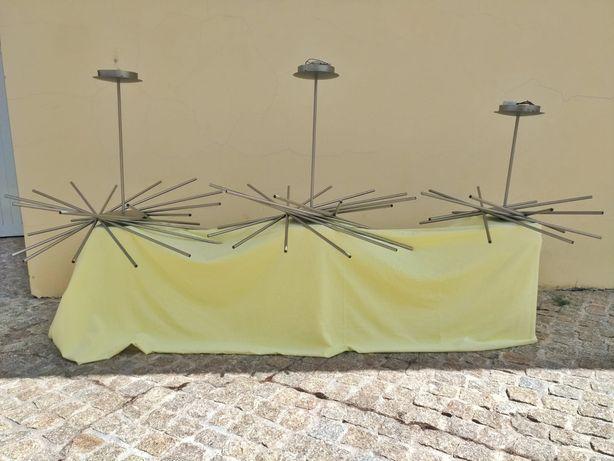 Candeeiros de teto em inox escovado