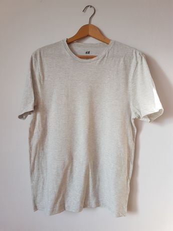Męski biały t-shirt luźny S koszulka H&M szary wzorek print paski