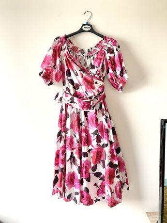 Orsay bawelniana rozkloszowana sukienka kwiaty pasek bufki
