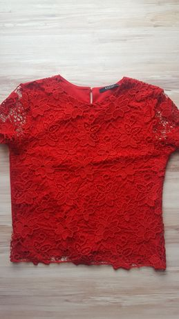 Czerwony koronkowy podkoszulek, Mohito S