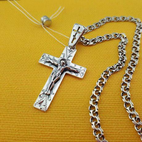 Комплект!!! Серебряная цепочка с кулоном. Серебро 925 крестик и цепь