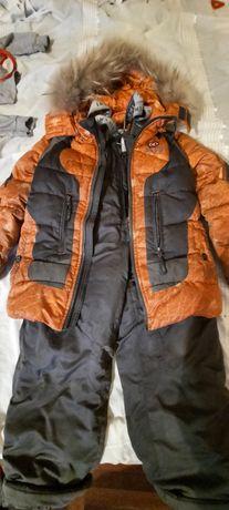 Зимняя куртка с натуральным мехом и комбинезон (штаны)