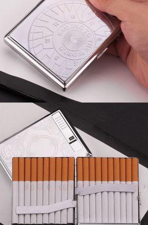 Metalowa Papierośnica z Zapalniczką Elektryczną na USB