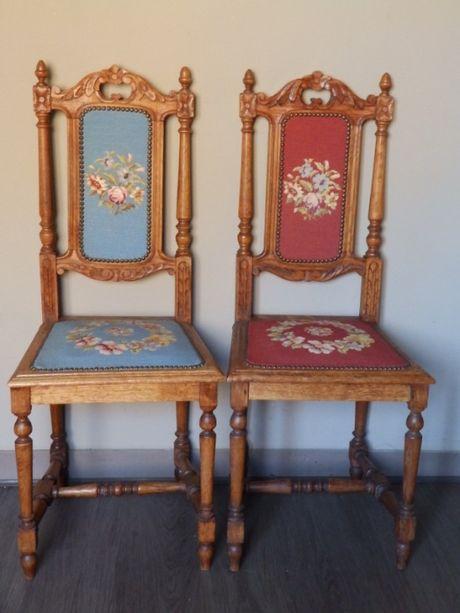 Антикварные парные стулья с гобеленой вышивкой