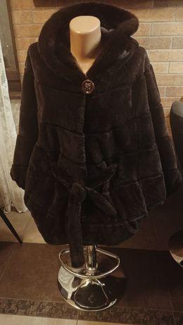 Норковая шуба La'ccia стриженая норка, плюшевая,модель кимоно