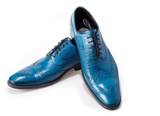 Wizytowe sznurowane szkoty męskie skórzana podeszwa oxford blue 44