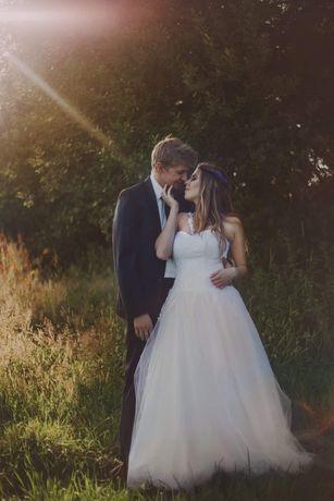 Suknia ślubna, Princessa, tiul, welon, bolerko