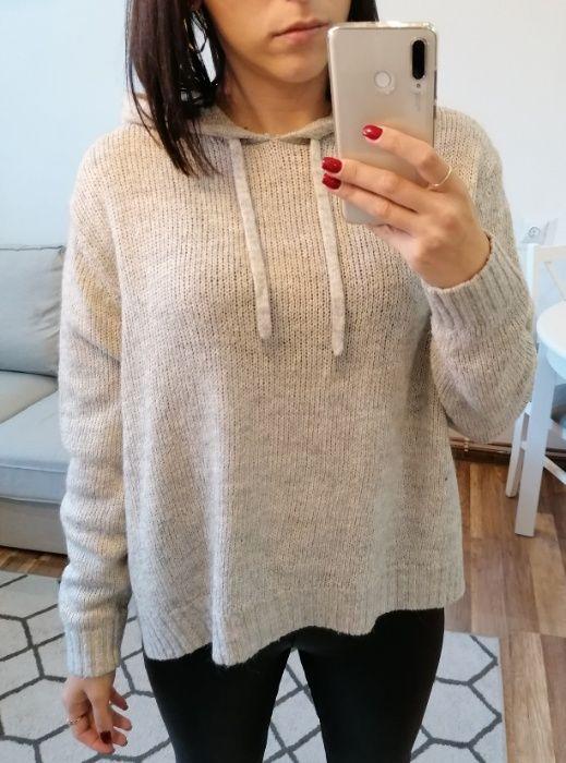 H&M jasnoszary sweter z kapturem crop top basic oversize S Legnica - image 1