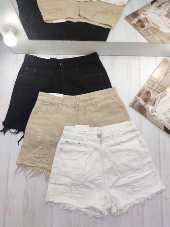 Шорты белые, джинс, хлопок, девичьи, молодёжные ,высокая талия