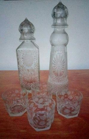 Хрустальный графин и стаканчики  - 50 грн