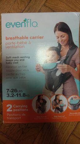 Продам сумку для переноски ребенка ТМ Evenflo серого цвета