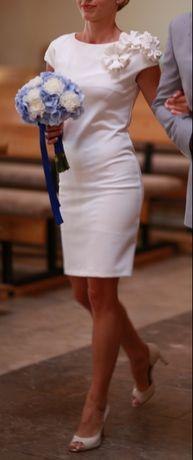 Elegancka sukienka mini koktajlowa biała rozmiar 34 xs