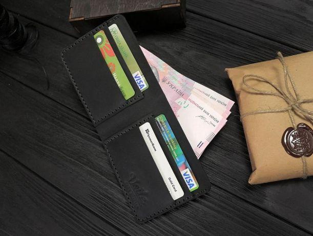 Черный кошелек ручной работа на подарок мужчине+ внутри подарок