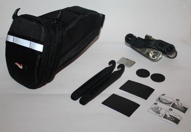 Bolsa XL Selim BTT + kit Ferramenta + kit reparação furos
