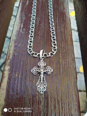 Новий Срібний хрестик/ крестик з цепочкой