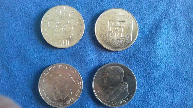 4 monety srebrne PRL 200 i 1000 zł mapka, żołnierze, olimpiada, papież
