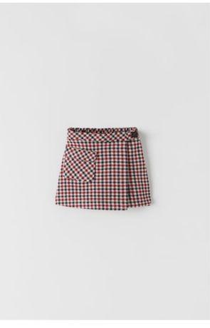 Zara nowe krótkie spodnico-spodenki w kratkę 134