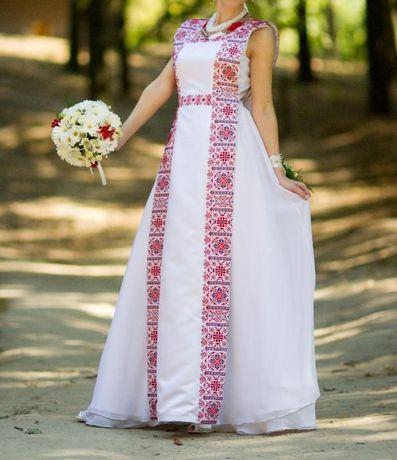 Сукня/плаття весільна з вишивкою/орнаментом,вишиване плаття